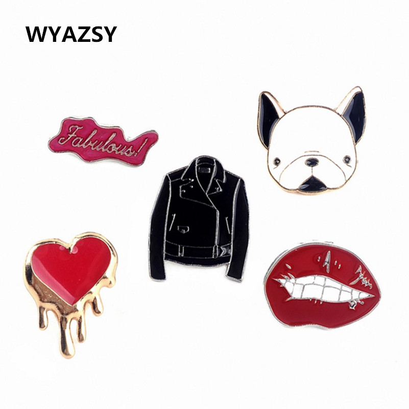 Fashion Enamel Brooches Hot Sale 10 Styles Dog/Peach heart/Clothes/Lips/Letter bird rainbow Brooch Gift Wholesale Free Shipping