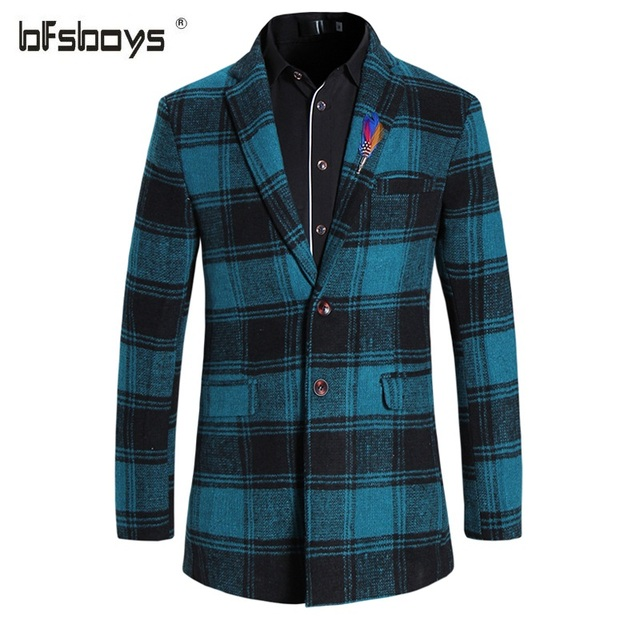 2016 Autumn Winter Overcoat Mens High Quality Fashion Mens Trench Coat Men Casual Printed Trench Coat Men Slim Fit Outerwear