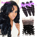 Malaysian Loose Wave 360 Lace Frontal With Bundle Pre Plucked 360 Frontal With Bundles With Baby Hair 7A Loose Wave With Closure