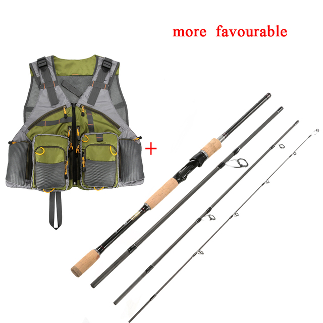 2.1/2.4m Carbon Fiber Fishing Rod 4Section Spinning Rod & Baitcasting Rod Light Weight Casting Medium Fishing Pole Vava De Pesca