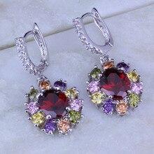 Love Monologue Trendy Multicolor Imitation Peridot/Garnet/Crystal Silver Color Drop Earrings for Womens Wedding Jewelry J0157