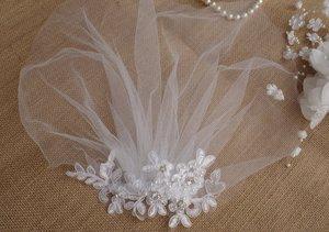 Image 3 - เจ้าสาวสีขาว Birdcage veil, Blusher Veil, หูฟังเจ้าสาวลูกไม้ fascinator Diamante ไข่มุก