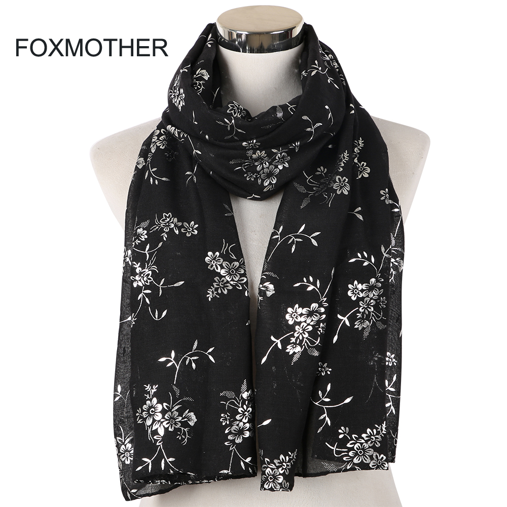 FOXMOTHER New Fashion Army Green Pink Black Foil Sliver Floral Hijab   Scarf   Muslim Sjaal Foulard Female Women   Scarves     Wrap