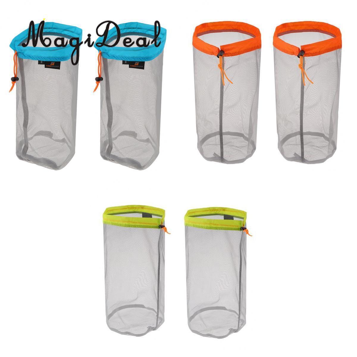 6pcs Camping Sports Ultralight Mesh Storage Bag Outdoor Stuff Sack Storage Bag S M L