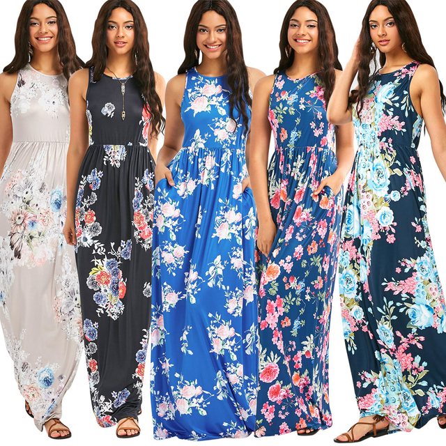 901776715b0 Floral Print Maxi Dress Women Casual Sleeveless Bohemian Tank O Neck Beach  Loose Dress Slim Cotton