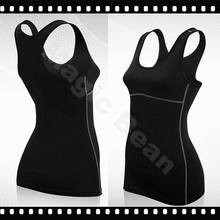 Dry Quick gym t shirt compression tights women's sport t shirts running non- leeve t-shirts fitness women clothes
