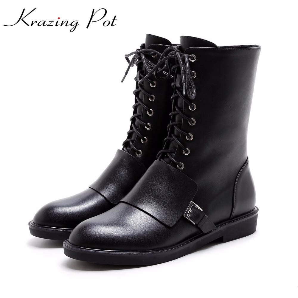 Krazing Pot 2018 genuine leather metal buckle rivets lace up boots low heels European round toe women fashion mid-calf boots L98 superstar cow suede tassel leather boots platform zipper med heels rivets snow boots round toe mid calf boots for women l2f7