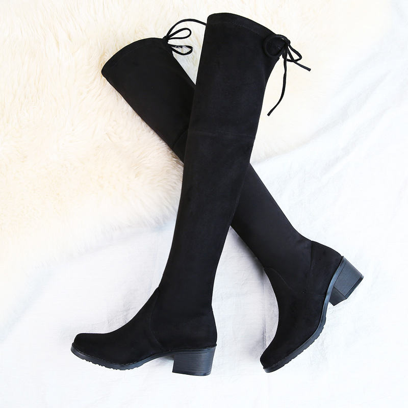 Women High Boots Thigh High Over The Knee Winter Female Shoes Black Thick Heels Lace Up Casual Shoes 2019 Plus Size DE in Over the Knee Boots from Shoes
