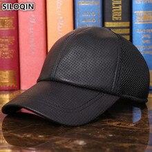 SILOQIN New Spring Summer Mesh Ventilation Baseball Caps Mens Genuine Leather Hat Adjustable Size Sheepskin Brand Cap