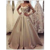 Халат De Soiree вечернее платье Длинные атласные аппликации с длинными фатиновыми рукавами для выпускного вечера вечерние Vestidos вечерние плать