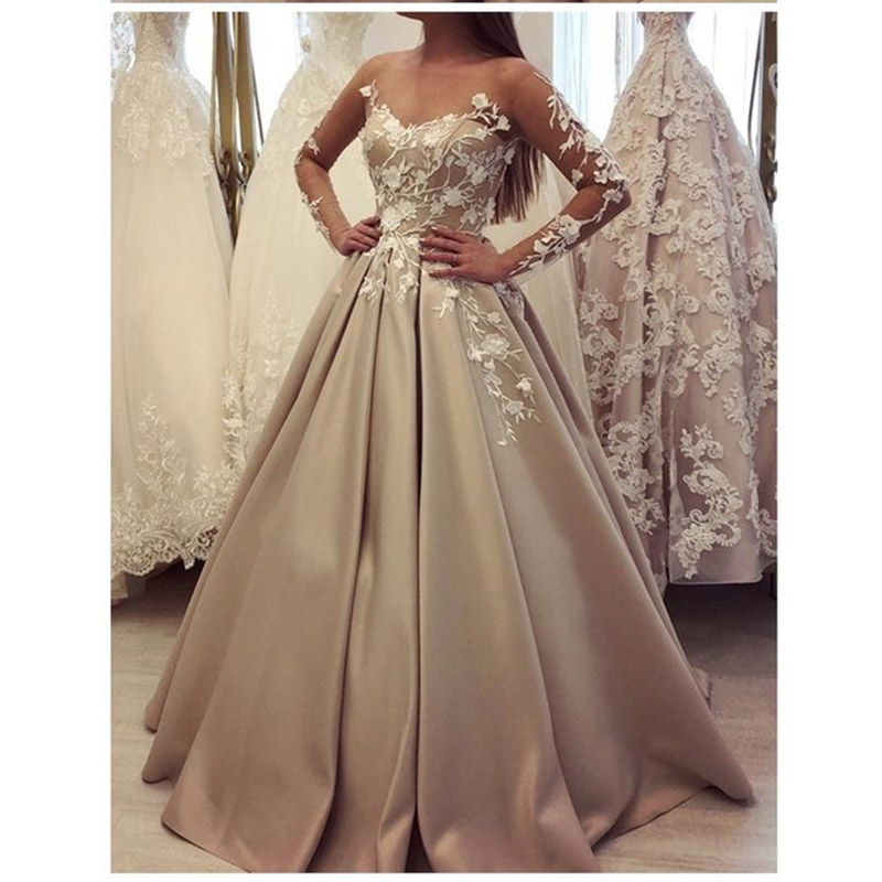Robe De Soiree   Evening     Dress   Long Satin Appliques Long Tulle Sleeves Prom Vestidos Party Gowns   Evening   Gowns