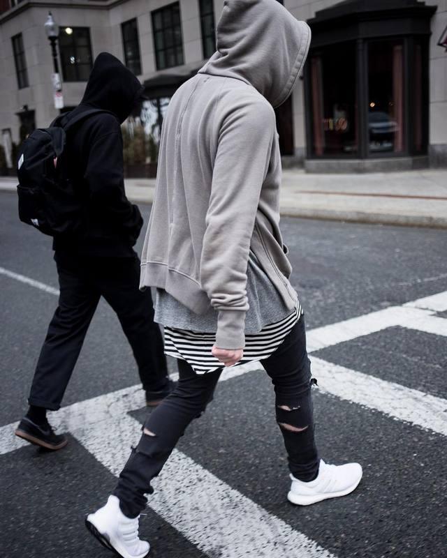 US $34.99  BLACK FOG STREET SIDE SPLIT HOODIE GREY BLACK men hoodies in Hoodies & Sweatshirts from Men's Clothing on AliExpress