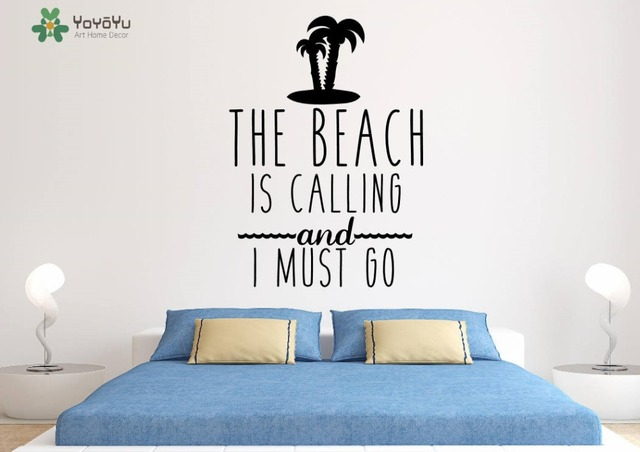 Fashion Wall Decal Quotes The Beach Is Calling And I Must Go Palm - Wall decals beach quotes