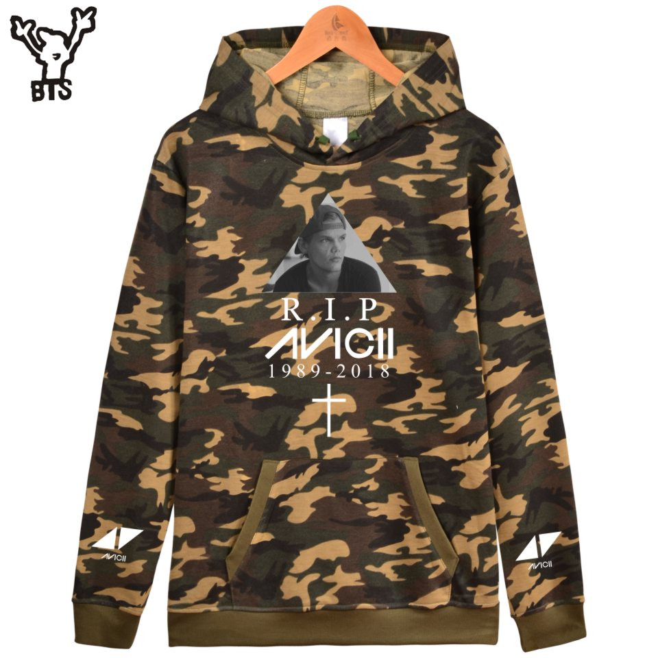 BTS R.I.P Avicii Women Winter Lovely Camouflage Popular Men Cool Hoodies Spring/Autumn Harajuku Sweatshirt Capless Plus Size 4XL