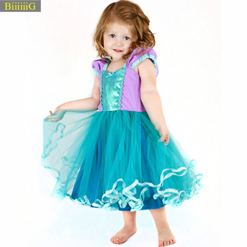 2018 New Summer Kids Dresses for Girls Mermaid Princess Girls Dress Mesh Ball Gown Todder Kids Clothing Fashion Cute Clothes 055