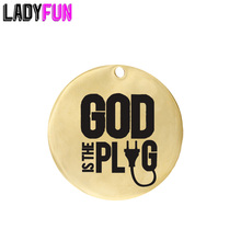 Ladyfun Stainless Steel Charm God is the Plug Pendant Charms 25mm 20pcs/lot