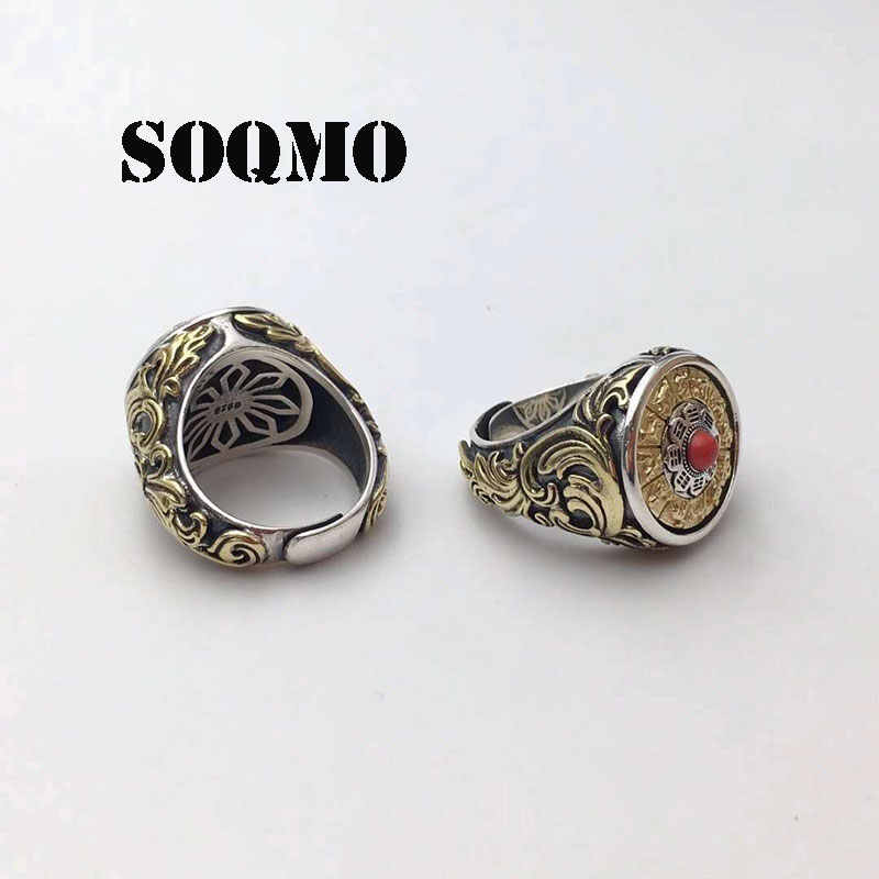 SOQMO Ethnic Rotatable Couple Ring 100% Real 925 sterling silver Jewelry Tai Chi Zodiac Signs Ring Men Women Jewelry SQM246