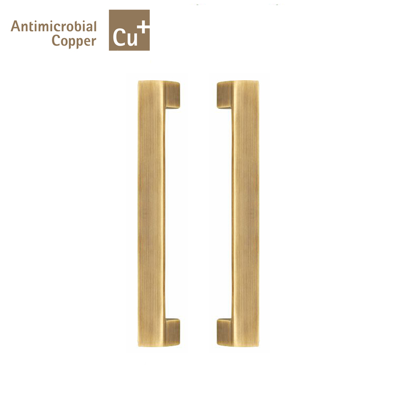 Entrance Door Handles Solid Brass Antimicrobial Copper Cu+Pull Handle PA-316-25*25*235mm For Wooden/Frame/Glass Doors antimicrobial black solid nylon offset door pull handle for entrance glass wooden metal frame doors pa 797