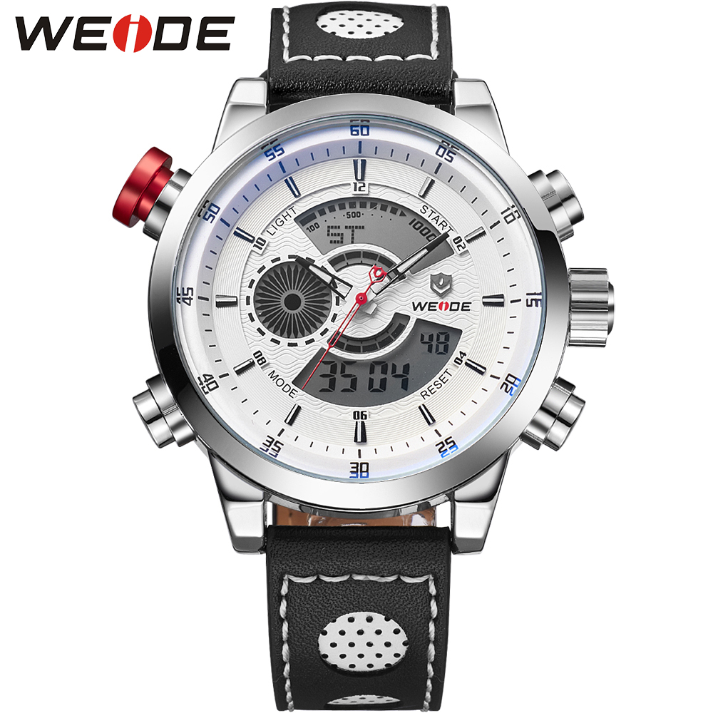 цены  WEIDE Casual Watch Men Leather Strap Analog Digital Dual Time Zones Date Alarm Stopwatch Display Mens Water Resistant Watches