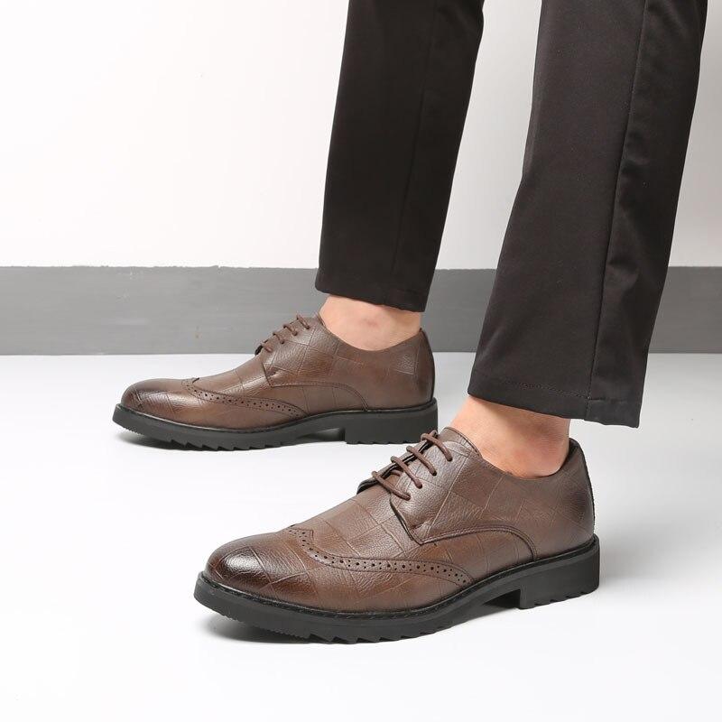 d6a97ac0463 Robe Cuir Hommes Marque Formelle De up D hommes Pointu Britannique H197  marron Pu Dentelle Mariage En Chaussures Noir Classique X5q6HH