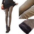 Plus velvet espesar otoño bolsillo gruesa pantalones calientes del corte del cargador mujeres plaid flaco lápiz pantalones mujer pantalones S-XXXL