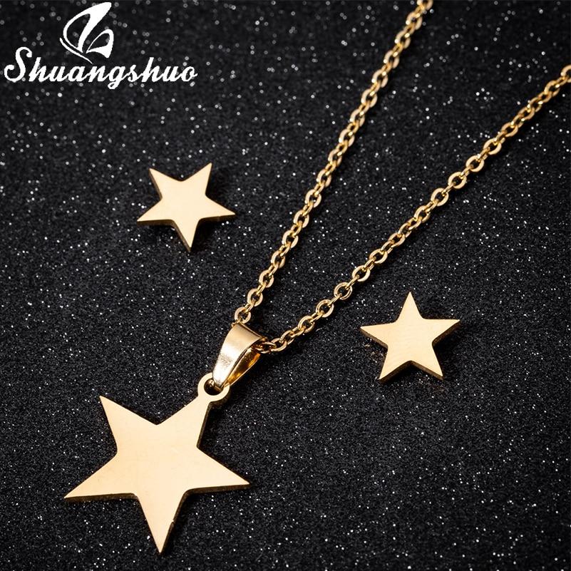 Shuangshuo Stainless Steel Gold Star Pendant Necklace Earrings Jewellery Sets for Women Little Star Bridal Wedding Earring Sets
