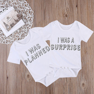 Newborn Twins Baby Boys Girls Clothes Cotton Short Sleeev Letter Printing Jumpsuit Bodysuit Clothes Outfits