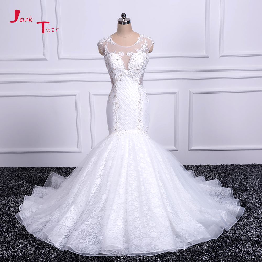 Jark Tozr Vestidos De Noiva Sereia Custom Made Bridal Gowns Ivory Lace Appliques Luxury Mermaid Wedding Dresses 2017 Aliexpress