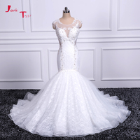 Jark Tozr Newest Strapless Appliques Beading Pleat Bodice Flower Waist Skirt Tiered Honorable White Mermaid Wedding