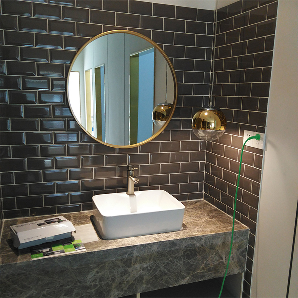 European luxury bathroom mirror gold round mirror makeup mirror round mirror bathroom wall mirror iron mirror LO68916