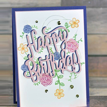 Happy Birthday English Words Cutting Dies for DIY Scrapbook Handmake Letter Template Stencil
