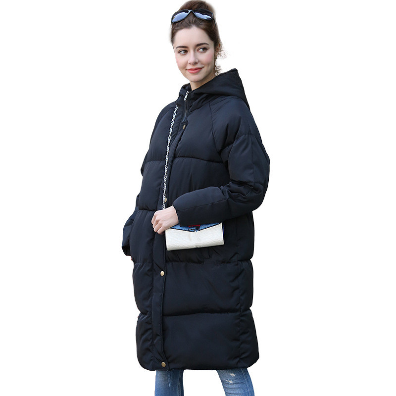 2019 autumn winter Women jackes ladies Fashion hoodie long Down jacket Cotton thick   Parkas   Female Long warm clothing coat