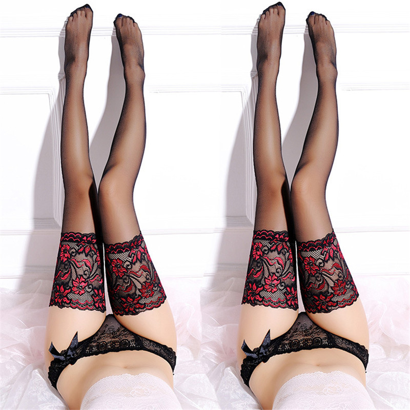 Hot Sexy Lingerie For Women Wide Lace Thigh High Stockings With Silicone Black/Nude Long Nylon Stockings Stay Up Sexy Pantyhose