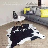 2 قطعة سعر الجملة الأسود البقر البساط البقرة مطبوعة السجاد للمنزل فو الجلد حصيرة cowskin جلدية الأبيض الاطفال البساط