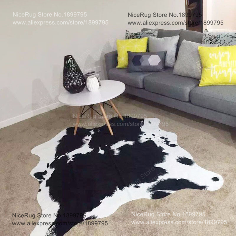 2 piece wholesale price black cowhide rug cow printed carpet for home faux skin mat imitation