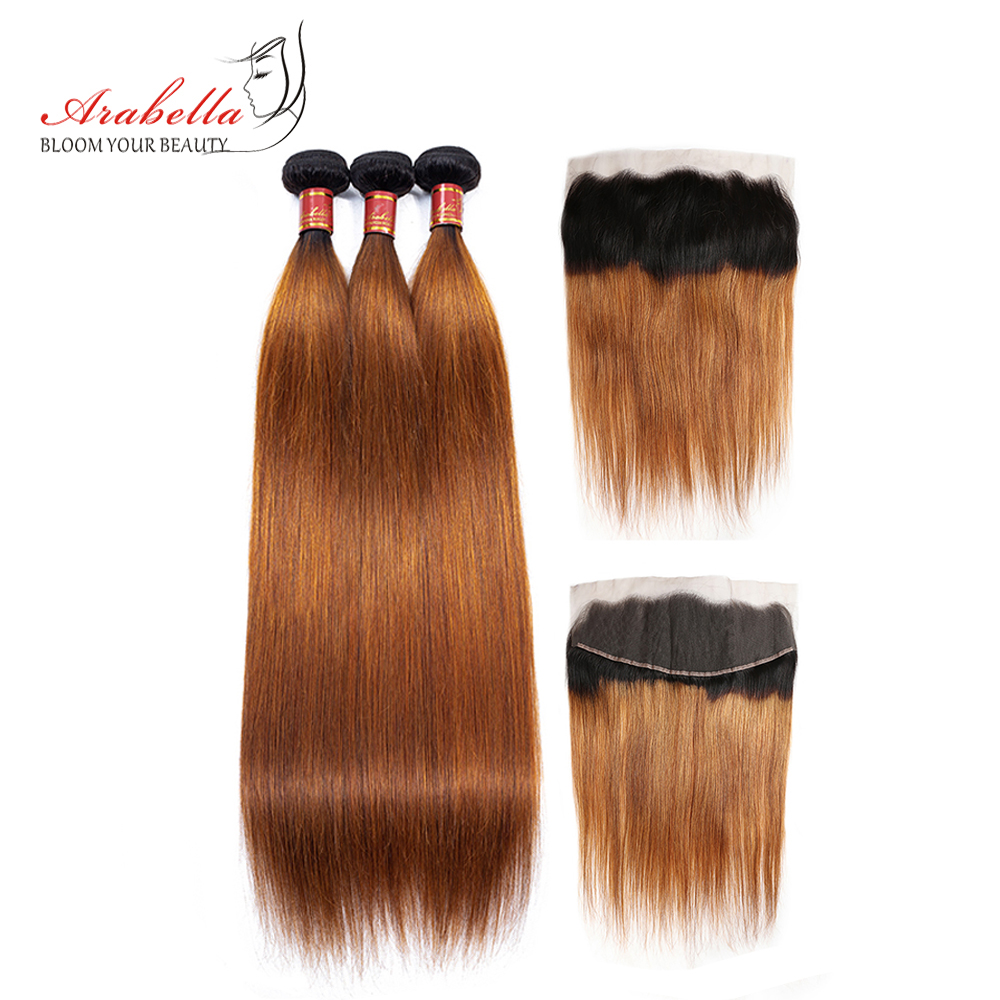 Arabella Peruvian Straight Human Hair Bundles With Frontal Closure 1b/30 Ombre Remy Hair Pre Plucked Frontal With 3 Bundles Hair