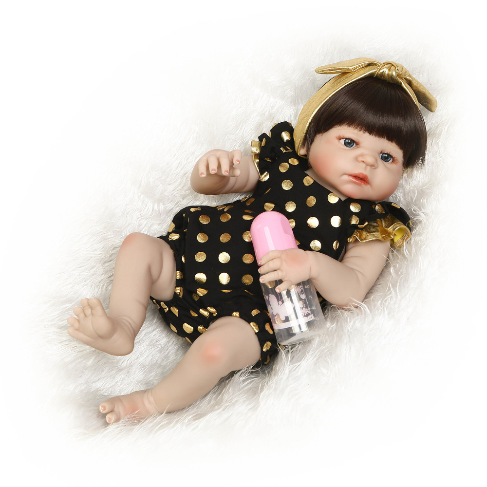 Nicery 22inch 55cm Bebe Reborn Doll Hard Silicone Boy Girl Toy Reborn Baby Doll Gift for Children Yellow Dots Lovely Baby Doll 55cm 22inch lovely baby reborn doll toy soft vinyl silicone reborn baby dolls finished doll