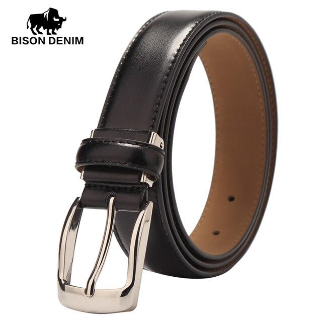 BISON DENIM New arrival genuine Leather Belts casual Slim thin belt belt men / wemen high quality student belt for gift W71122