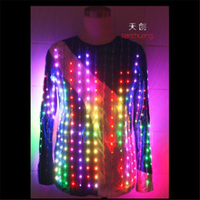 TC-38 Programming led light costumes ballroom luminous suit wedding stage wears led clothing party singer robot mens host jacket