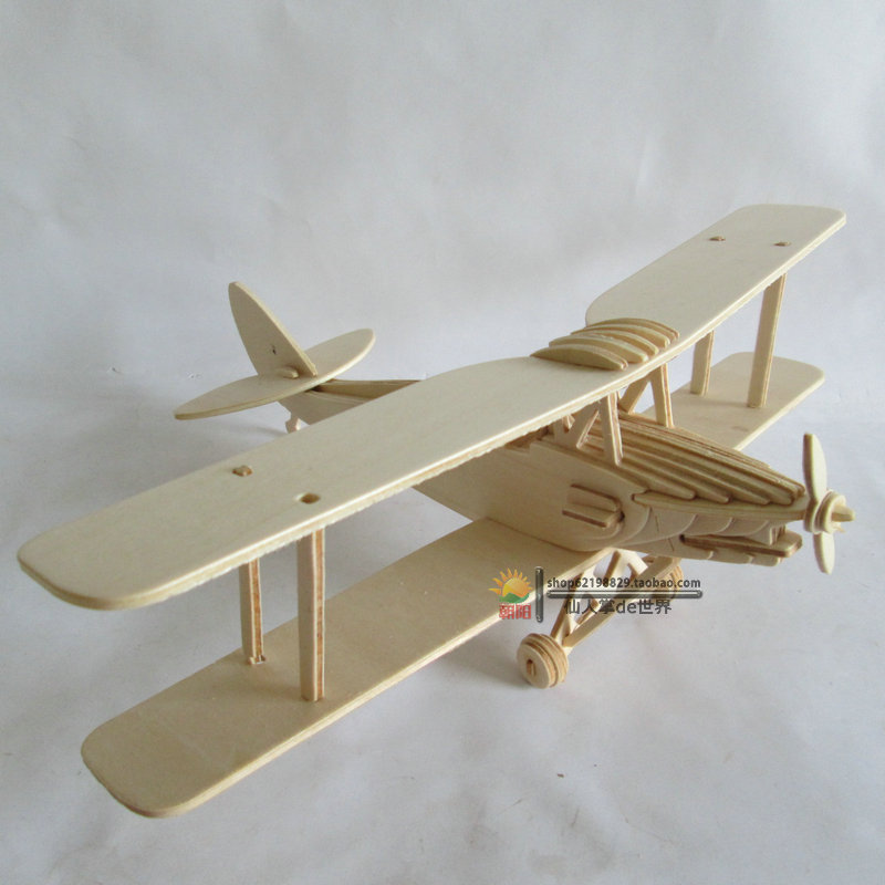 Kids Toys 3d Plane Model Wooden Puzzles Handmade Tiger Moth