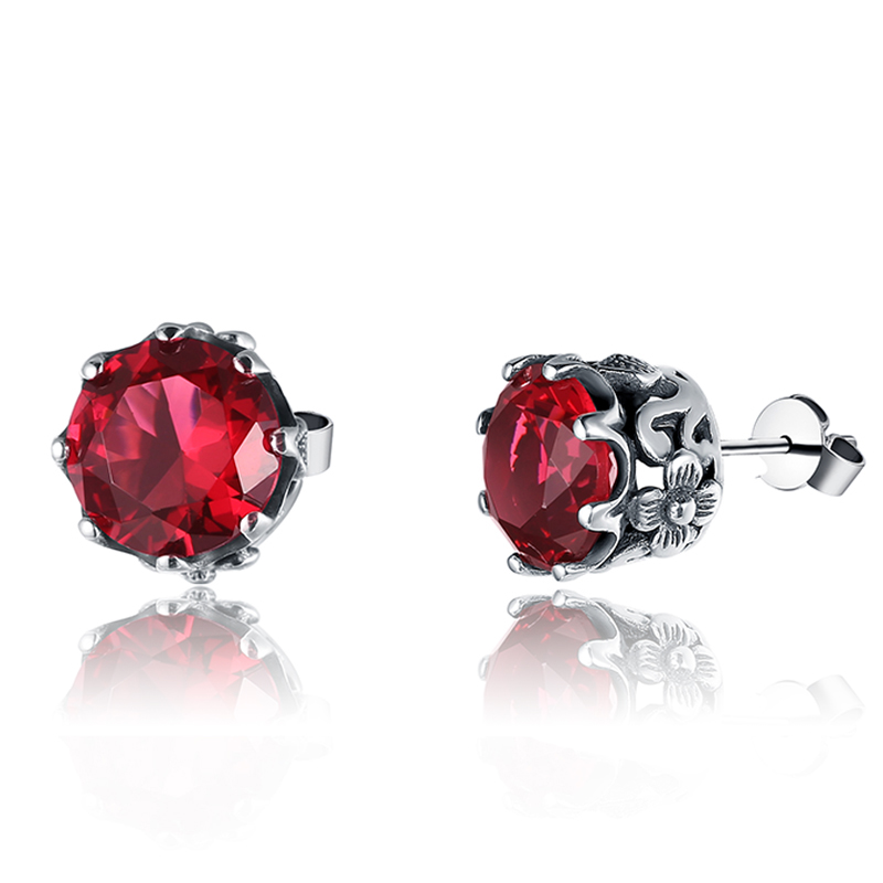 цены SzjinAo Classic Luxury Ruby Women Jewelry Flower set Royal Nobility Fine Stud Earring real 100% 925 Silver Earrings for Woman