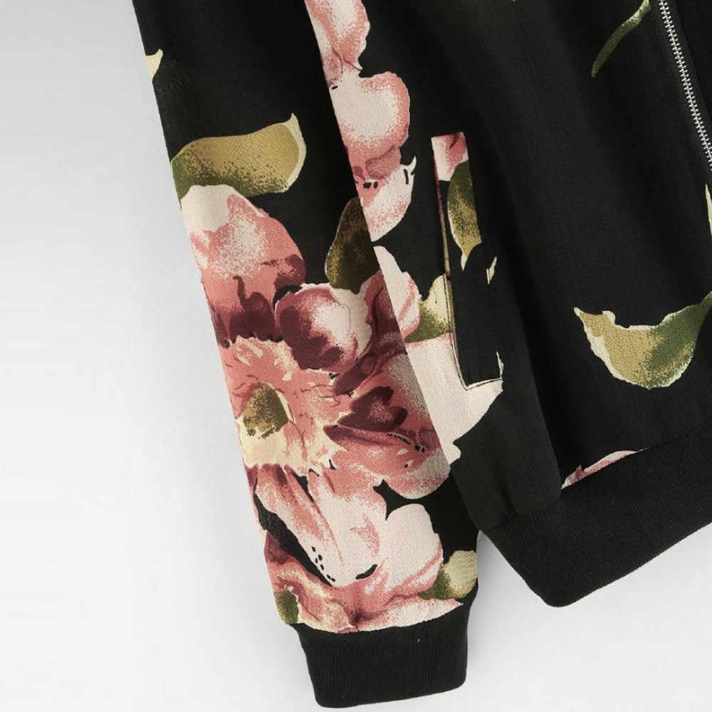 MISSOMO נשים רטרו פרחוני הדפסת רוכסן מפציץ מעיל להאריך ימים יותר מעיל סתיו ארוך שרוול streetwear jaqueta feminina