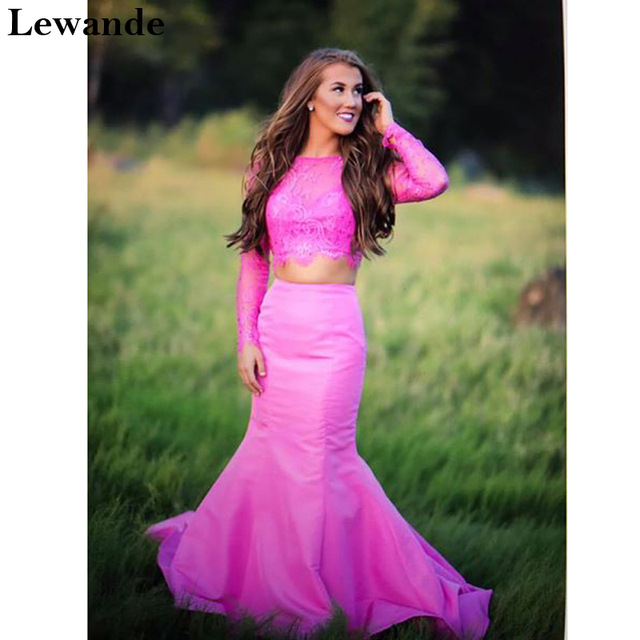 Lewande Long Sleeves Lace Two Piece Mermaid Prom Gown 50491 Beaded ...