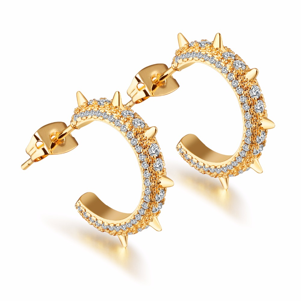 and studs minimal modern earrings gold web delicate rose p classic products oro vrai trillion diamond
