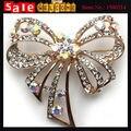 Large Golden Rhinestone Crystal Butterfly Brooch Pin Big Bow Long Tassel CZ Diamond Wedding Party Dress Suit Brooch Pin Badge