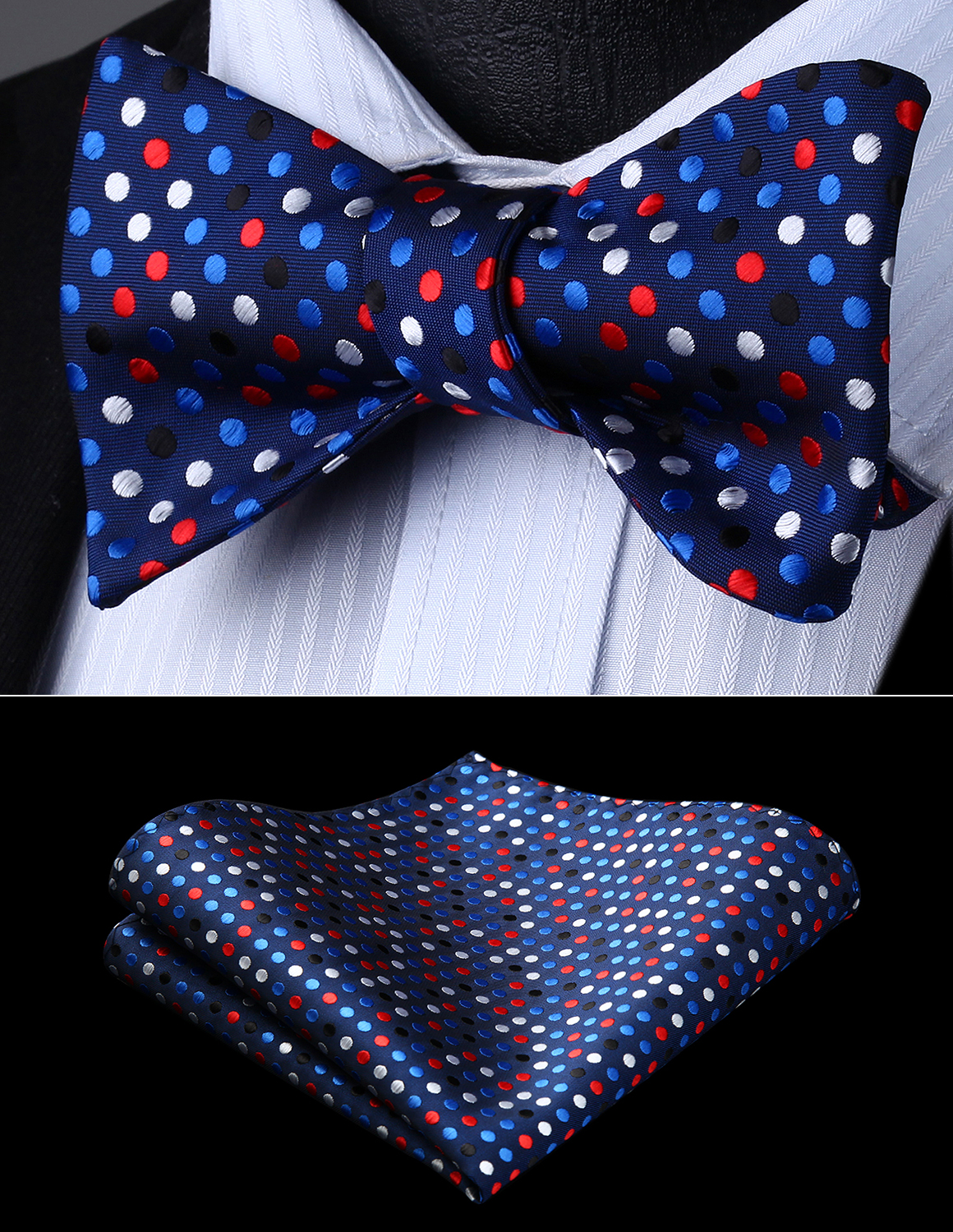 Classic Polka Dots Woven Pre-tied Bow Tie 5 w//Pocket Square /& Cufflinks Gift Set