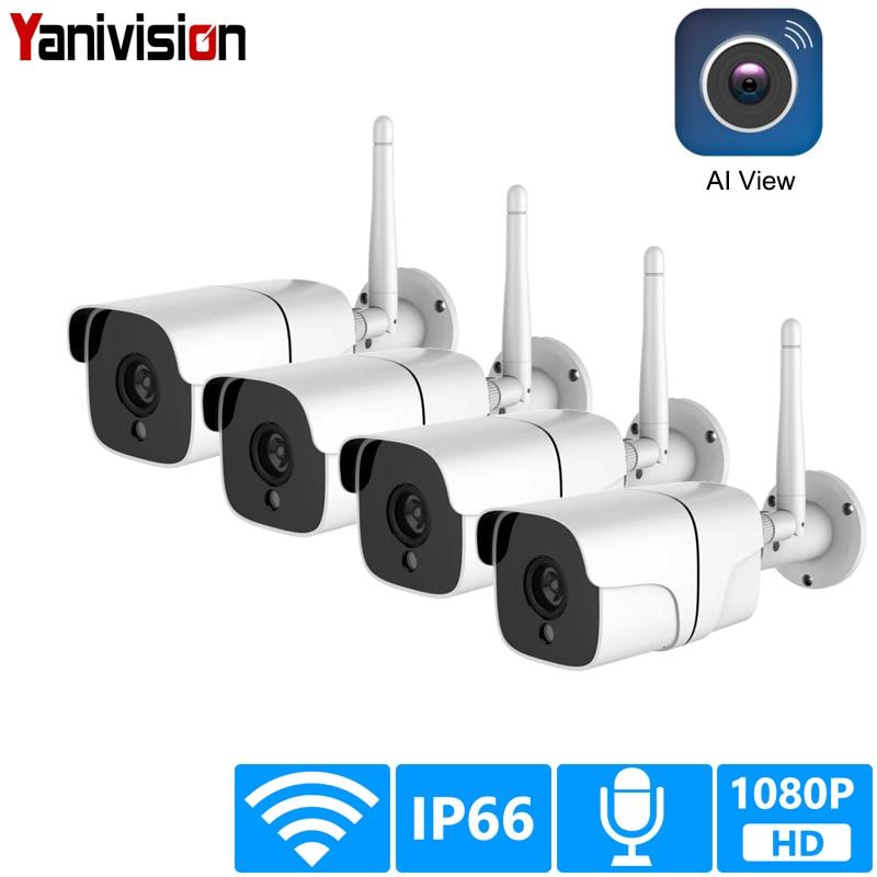 Sistema de câmera de segurança sem fio 1080 p câmera ip wi fi cartão sd ao ar livre 4ch áudio cctv sistema vigilância vídeo kit camara