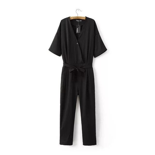 2017 summer women's fashion V-neck Jumpsuits short sleeve rompers female's chiffon loose harem pants large size S M L XL
