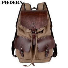 2015 New Preppy Style Vintage Genuine Leather and Canvas Mens Backpack England College Retro Men Bag Shoulder Bags