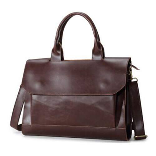 ETONWEAG 1x coffee men retro PU leather business handbag shoulder diagonal cross package briefcase 37 * 28 * 7cm